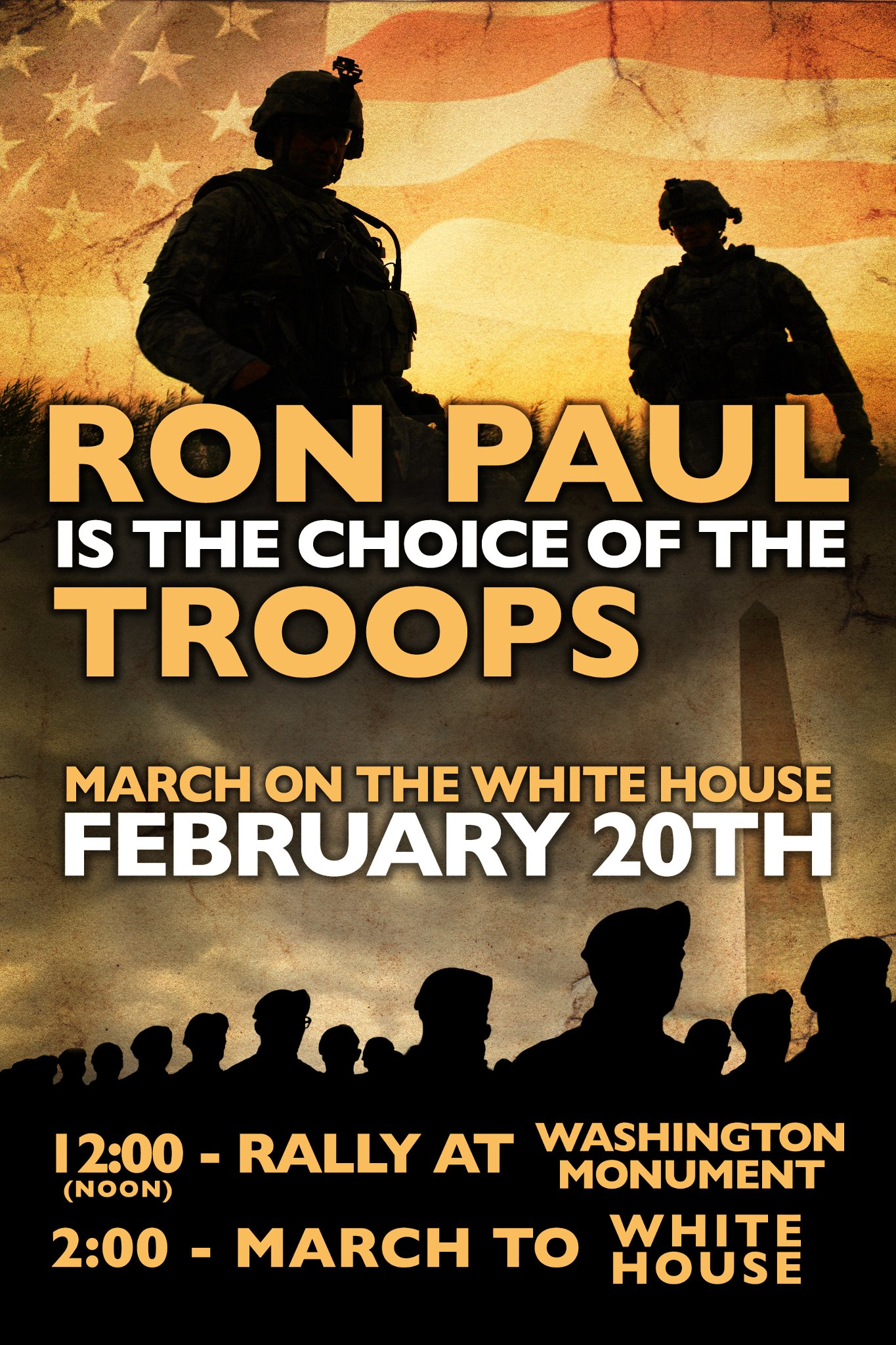 Veterans for Ron Paul March in Washington D.C. poster